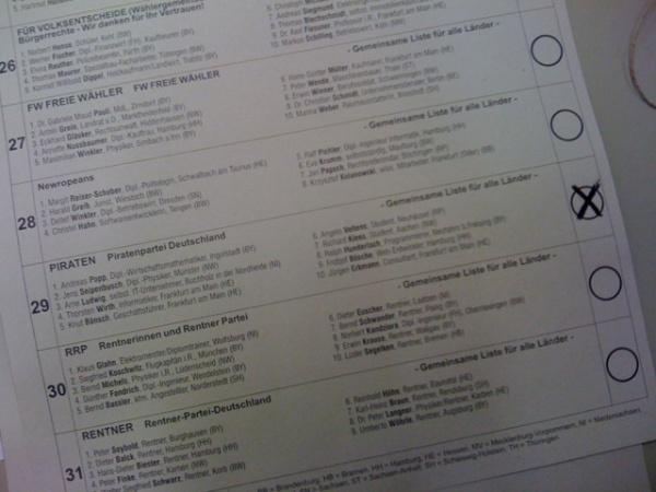 wahlzettel, europawahl 2009, piratenpartei angekreuzt